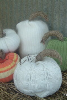 no sew sweater pumpkins, crafts, My entire grouping of sweater pumpkins from white to colorful