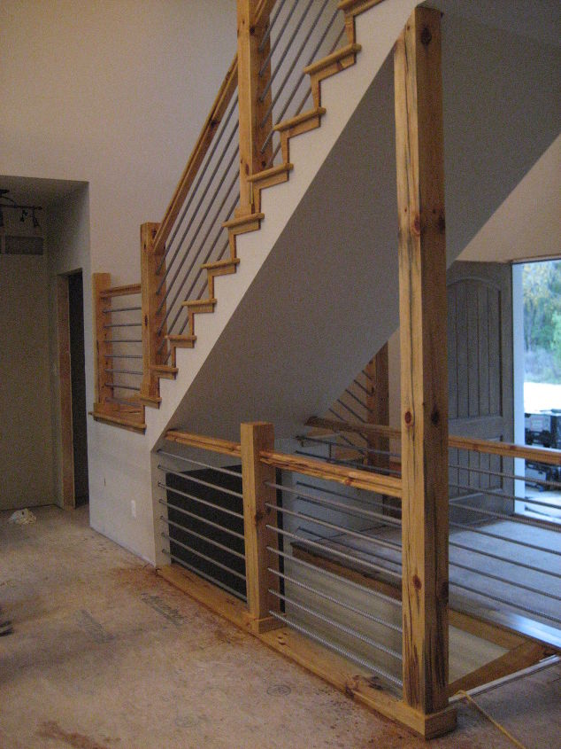Building a home cable rail staircase hometalk for Diy wood stairs
