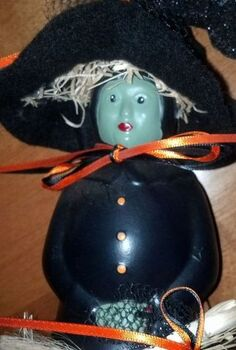 crafts halloween mrs butterworth jar witch, crafts, halloween decorations, repurposing upcycling