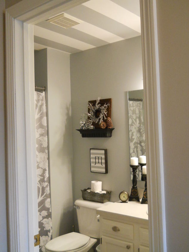 Striped bathroom ceiling hometalk for Bathroom ceiling ideas
