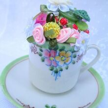 upcyle old teacup to make a vintage pincushion how to, crafts, repurposing upcycling, Pincushion Teacup pretty and useful too