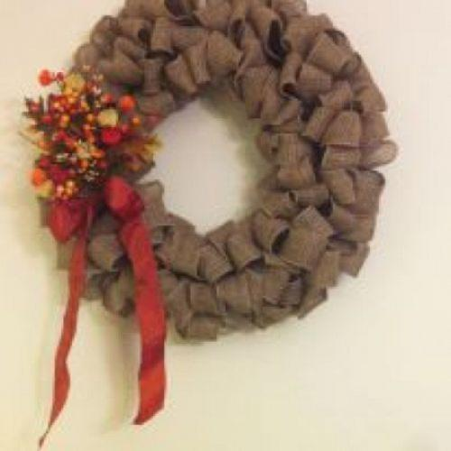 Making my fall burlap wreath a christmas burlap wreath for How to decorate a burlap wreath for christmas