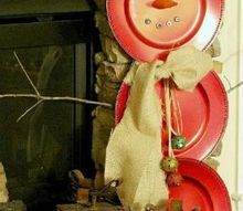 diy snowman from charger plates, crafts, seasonal holiday decor