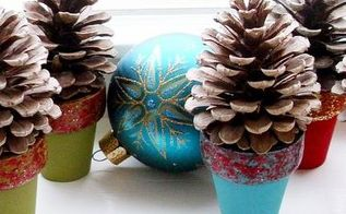pinecone craft mini pinecone tree pots, christmas decorations, crafts, seasonal holiday decor, These mini pinecone tree pots are perfect for the window for your mantel or even as place setting favors