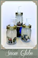 dollar store mason jar snow globe soap dispensers, crafts, mason jars, seasonal holiday decor, Dollar Store Mason Jar Snow Globe Soap Dispensers Get the full how to here