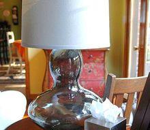 diy glass lamp from goodwill vase, lighting, Goodwill vase Walmart shade lamp kit high dollar copycat glass lamp