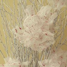 valentine decor dryer sheet flowers with chunky bits of red glitter, crafts, flowers, valentines day ideas, I made some red and white dryer sheet flowers to create this bit of Valentine s Day decor