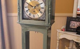 grandmother clock makeover reveal and living room reveal, home decor, painted furniture