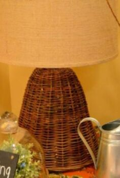 how to turn a wicker cloche into a lamp, lighting, repurposing upcycling, Completed lamp