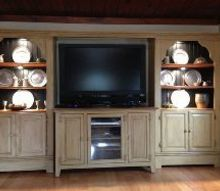 restyled entertainment center, home decor, painted furniture, shelving ideas, After