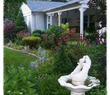 come sit a spell, gardening, outdoor furniture, outdoor living, porches, May view of the porch flowerbeds with roses and peonies in their glory