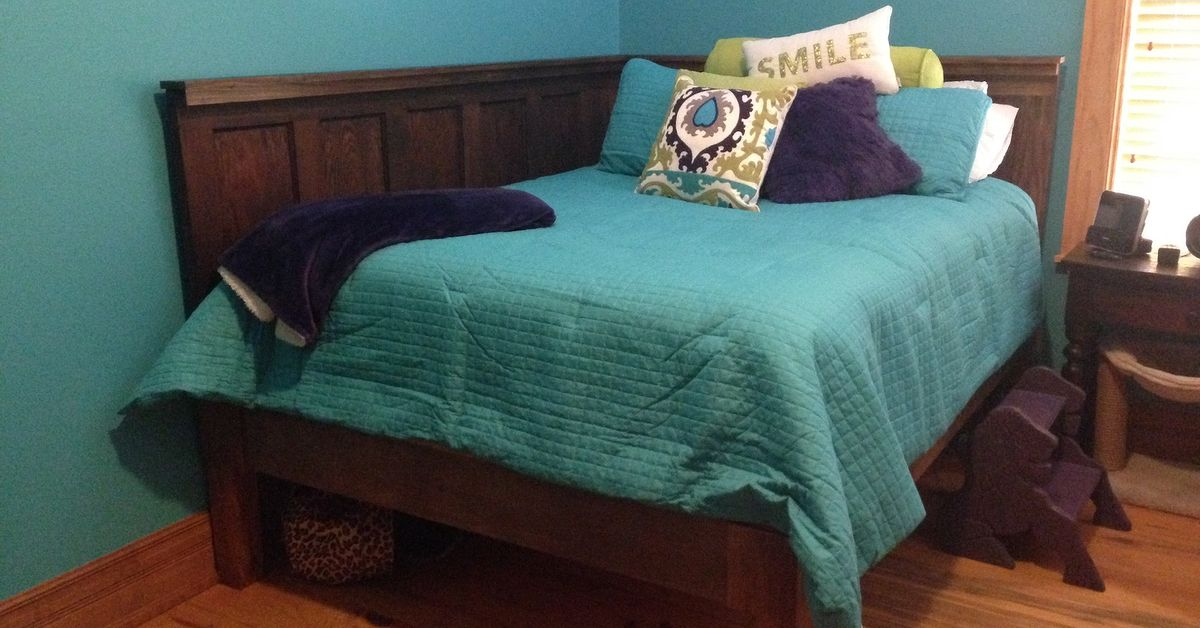 Corner Queen Size Bed Using 2 Old 5 Panel Doors