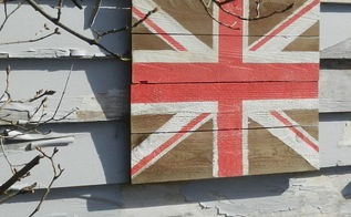 hand painted british flag inspired art on fence boards, crafts, painting, repurposing upcycling, Hand painted British flag inspired art on cedar fence boards