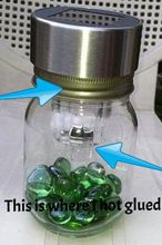 another solar light in a jar, crafts, lighting, The solar light was almost the same size as the jar ring UPDATE Don t hot glue gems to the outside they may fall off