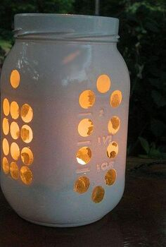 mason jar luminary, crafts, mason jars, outdoor living, repurposing upcycling, but he s even prettier as the sun sets