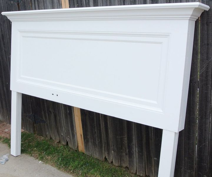 classic one panel old door headboard for a king size bed, bedroom ideas,  painted - Classic One Panel Old Door Headboard For A King Size Bed Hometalk
