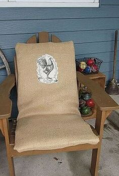 adding interest to uninteresting outdoor cushions, outdoor furniture, outdoor living, painted furniture, repurposing upcycling, I wrapped the old cushions in burlap and wrapped them like a present I used safety pins to secure the burlap