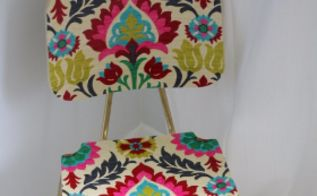 upholster a wood chair with fabric and mod podge, decoupage, how to, painted furniture, reupholster