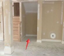q new construction space not outlined on plan builder says too bad, home improvement, stairs, View from the dining room to the random 5ft deep nook that we think should be a closet useable space