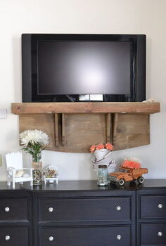 how s your tv hanging we added a shelf now ours looks better, diy, shelving ideas, woodworking projects, After