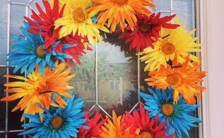 dollar store front porch maintenance free flower wreath, crafts, flowers, how to, wreaths