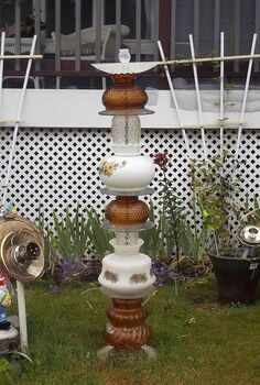 recycled glassware and lamps into garden totems and bird baths, gardening, repurposing upcycling, This one is mostly glass lamp shades and plates with an upside down salt shaker siliconed to the top piece for the bird bath