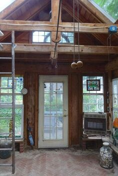 greenhouse from old windows, gardening, outdoor living, repurposing upcycling, windows, Loft brick floors shelves for plants