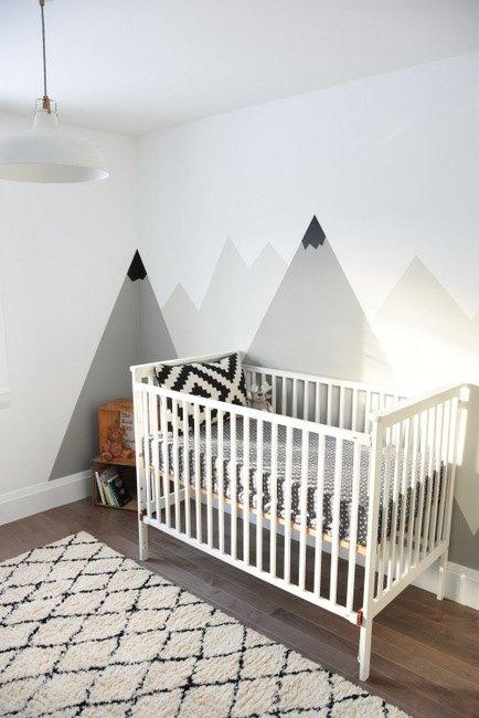 A nursery diy mountain mural hometalk - How to paint murals on bedroom walls ...