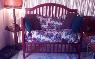 baby bed transformed into love seat bench, diy, painted furniture, repurposing upcycling, woodworking projects