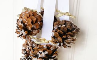 snowy pinecone door hanger, crafts, doors