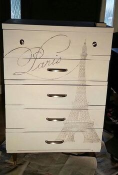 eiffel tower dresser, painted furniture, The final result after I lightly sanded the tower to soften the look with a fine sanding block I forgot to show when I had the Paris up on the projector but you get the gist I am very pleased how it turned out