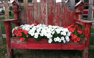 new life for old bench, flowers, gardening, repurposing upcycling