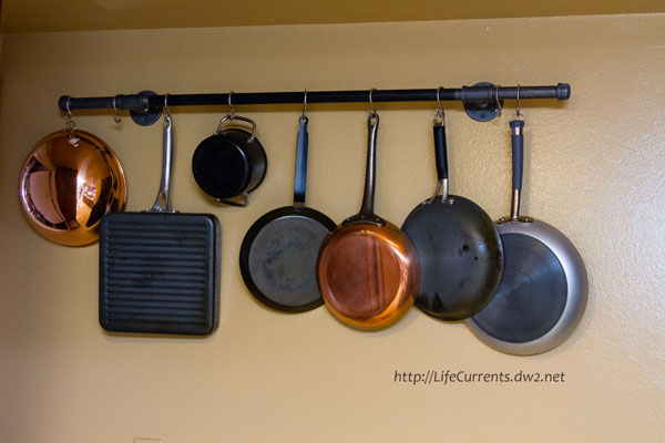 Diy pot rack with pipes from home depot hometalk for Kitchen s hooks for pots and pans