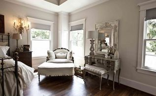 get the farmhouse french look, bedroom ideas, home decor, A painted vintage vanity anchors this wall while a French settee covered in a linen slipcover provides an inviting place to curl up with a book