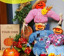 these charming scarecrows have a secret, craft rooms, halloween decorations, seasonal holiday decor, Charming Scarecrows made with children s clothing and a bathroom plunger