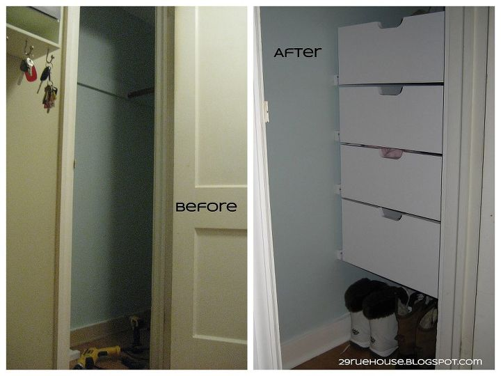 Foyer Closet Dimensions : We just finished building drawers into one side of our