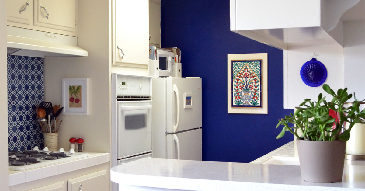 Rental kitchen makeover: from generic white to upgraded blue ...