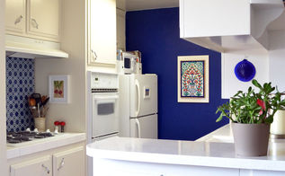 rental kitchen makeover blue kitchen, home decor, kitchen backsplash, kitchen design