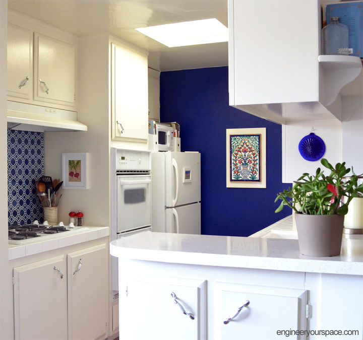 Rental Kitchen Makeover Blue Kitchen Home Decor Kitchen Backsplash Kitchen Design