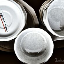 removing scratches from white dishes, cleaning tips, repurposing upcycling, White thrifted dishes with black scratches