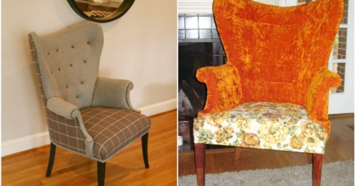 mid century barrel back wing chair make-over : Hometalk