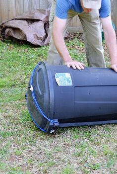 cheap diy compost tumbler, composting, gardening, go green