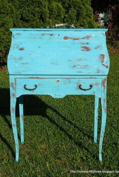 shabby vintage secretary desk, painted furniture
