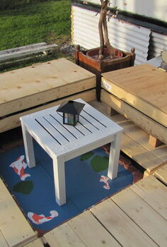 small mostly freebie backyard deck, decks, outdoor living, woodworking projects