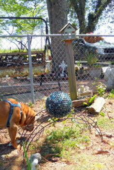 yard art, crafts, gardening, WoFat Checks out the new addition to his play area