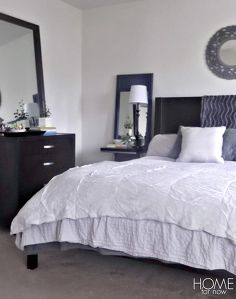 Gray bedrooms idea box by christina the frugal homemaker for Monochromatic bedroom designs