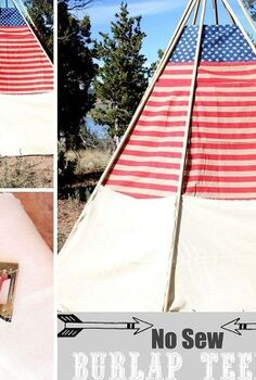 patriotic no sew outdoor burlap teepee, diy, how to, outdoor living