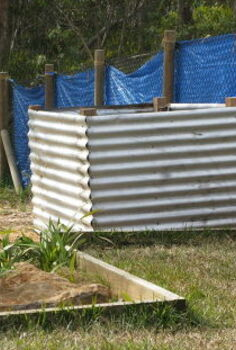 raised vegie bed made from recycled corrugated iron, gardening, raised garden beds
