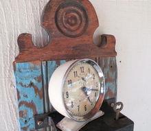 vintages door locks make clock display shelf, home decor, repurposing upcycling, Re purposed old door locks