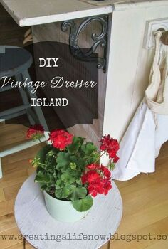 turn an old dresser into a vintage island for free, diy, kitchen design, kitchen island, painted furniture, repurposing upcycling, woodworking projects